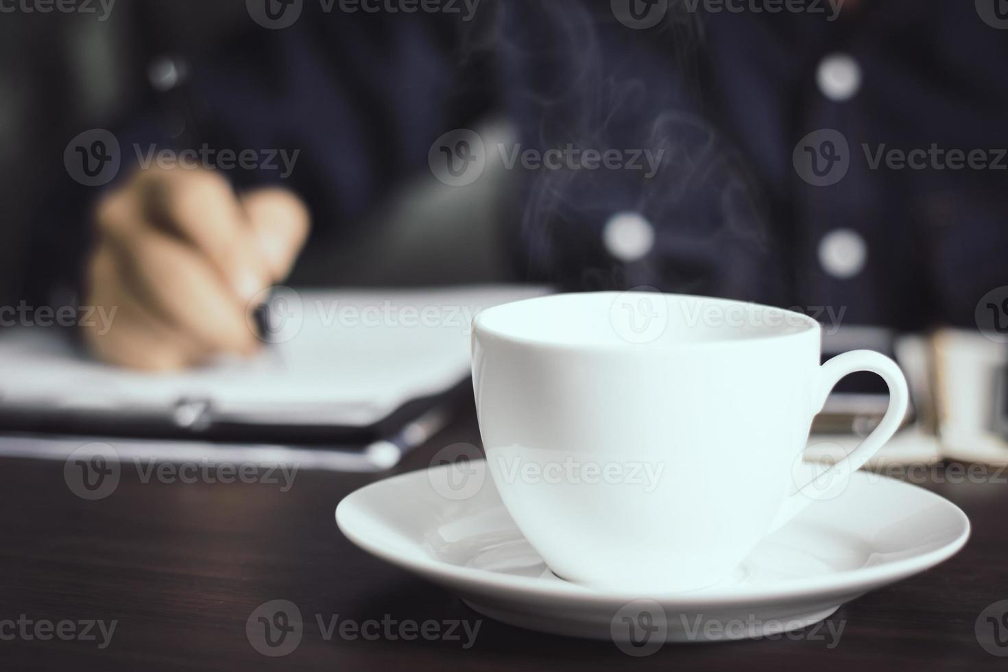 Hot cup of coffee photo