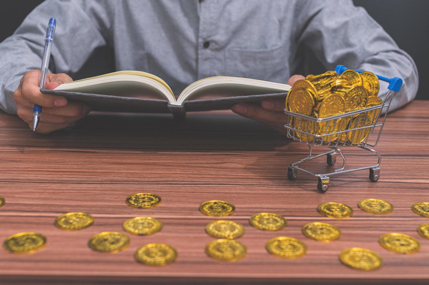 Businessman with coins photo