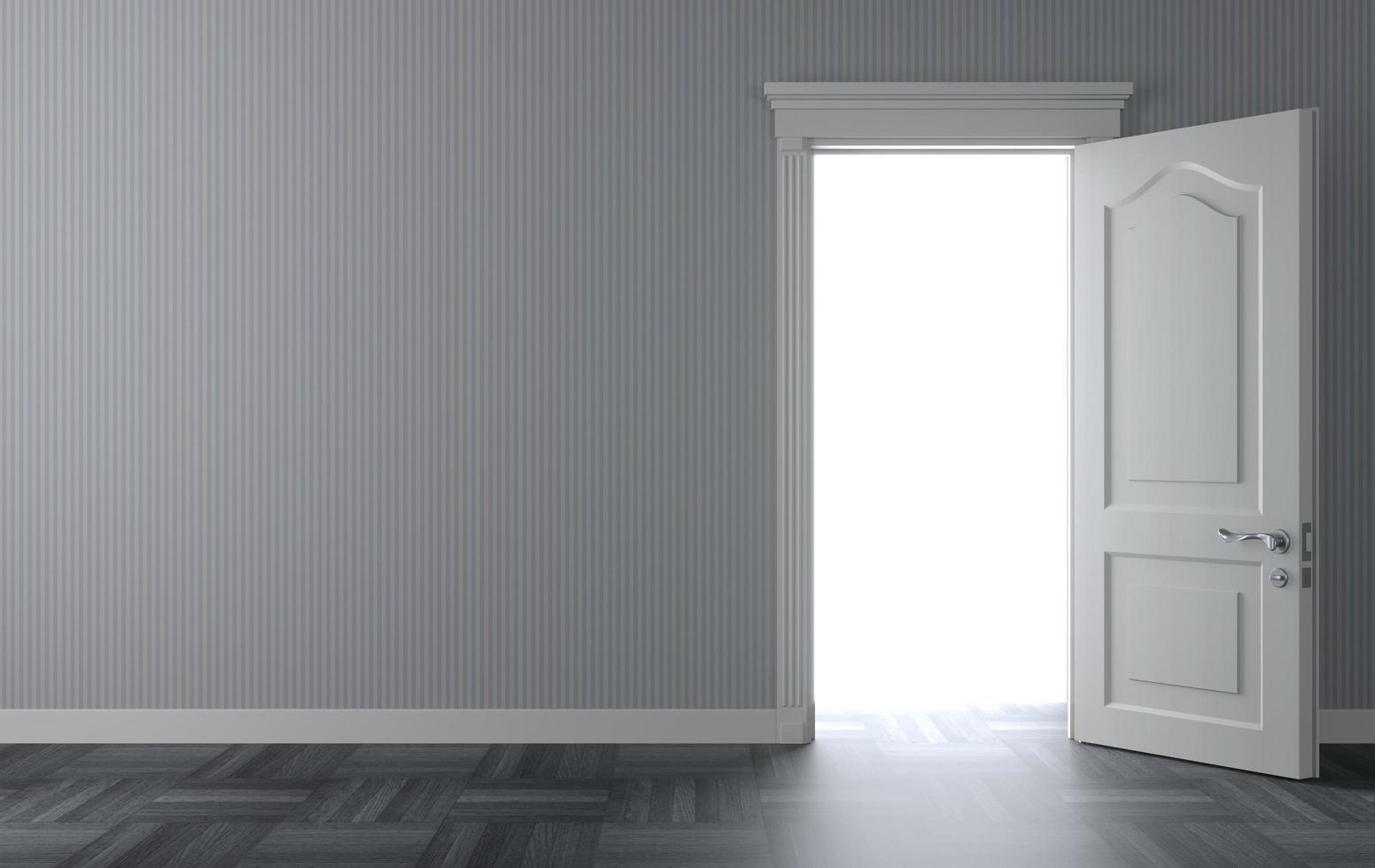 Classic white door 3D illustration photo