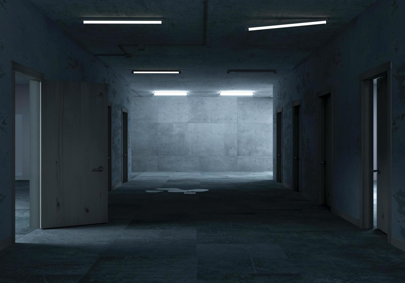 3D rendering of a dark hallway photo