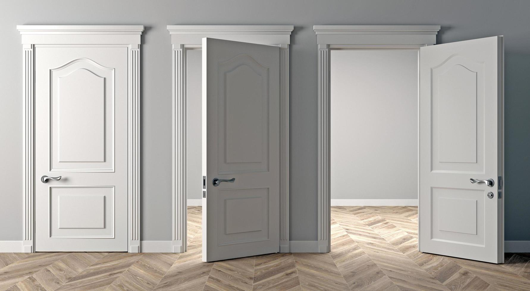Three classic white open doors photo