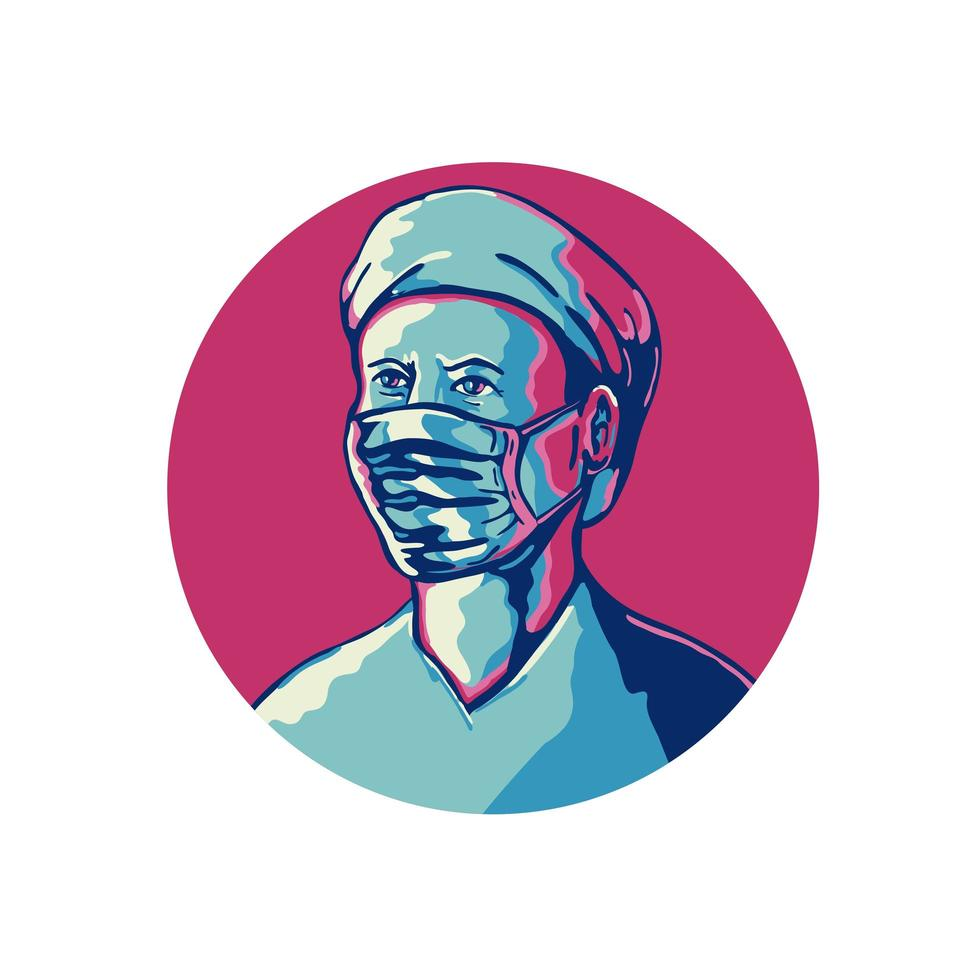 Nurse Wearing Mask and Cap Circle WPA vector