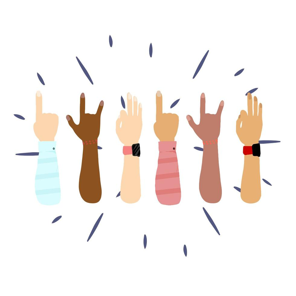 People hands from differents cultures and races Vector