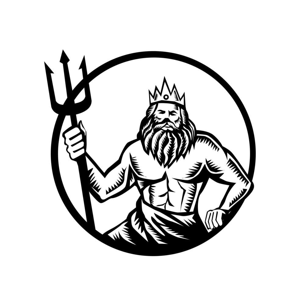 Poseidón sosteniendo círculo tridente xilografía emblema blanco y negro vector