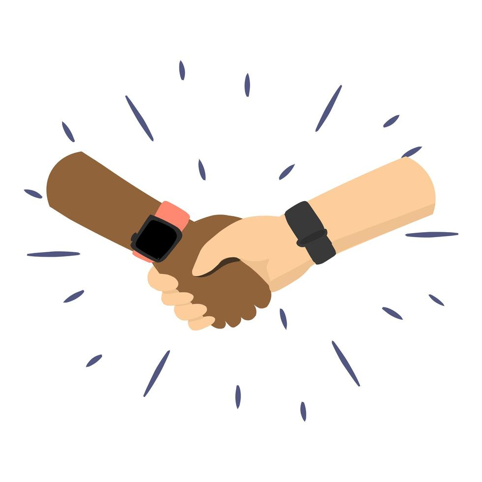 People from different cultures and races handshake illustration Vector