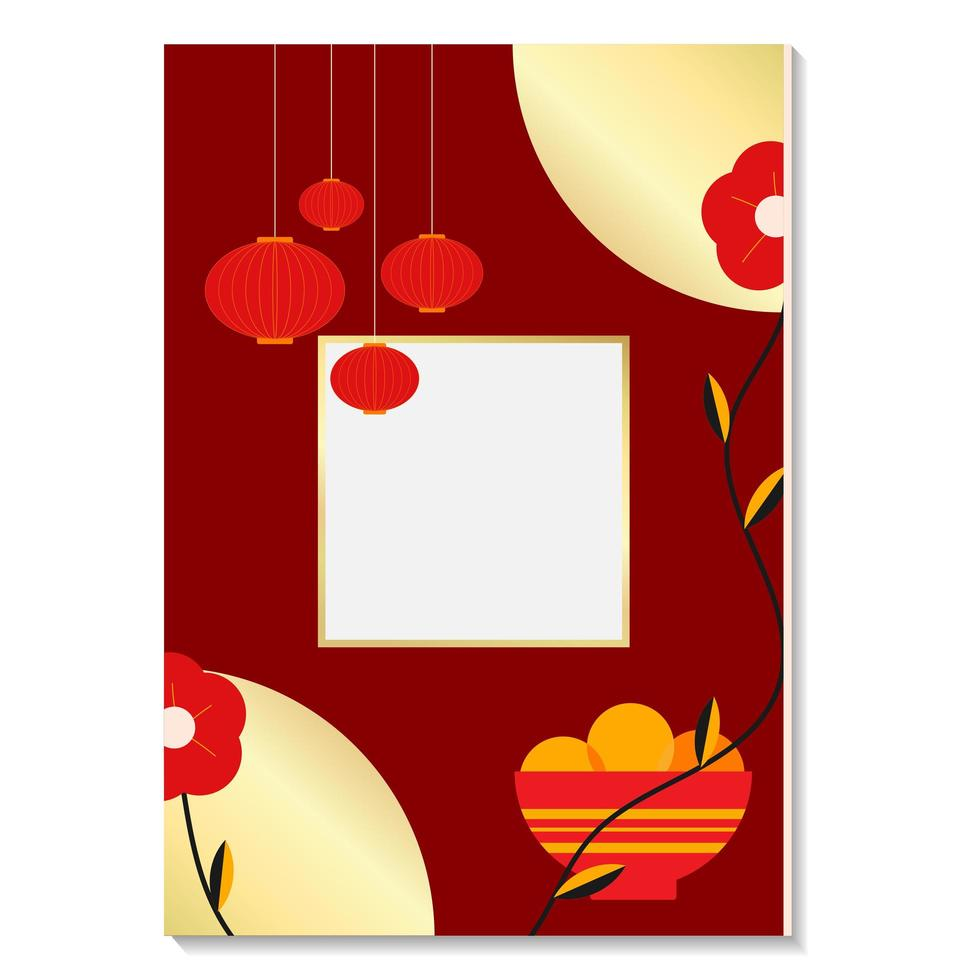 Red and golden lunar new year 2021 vector