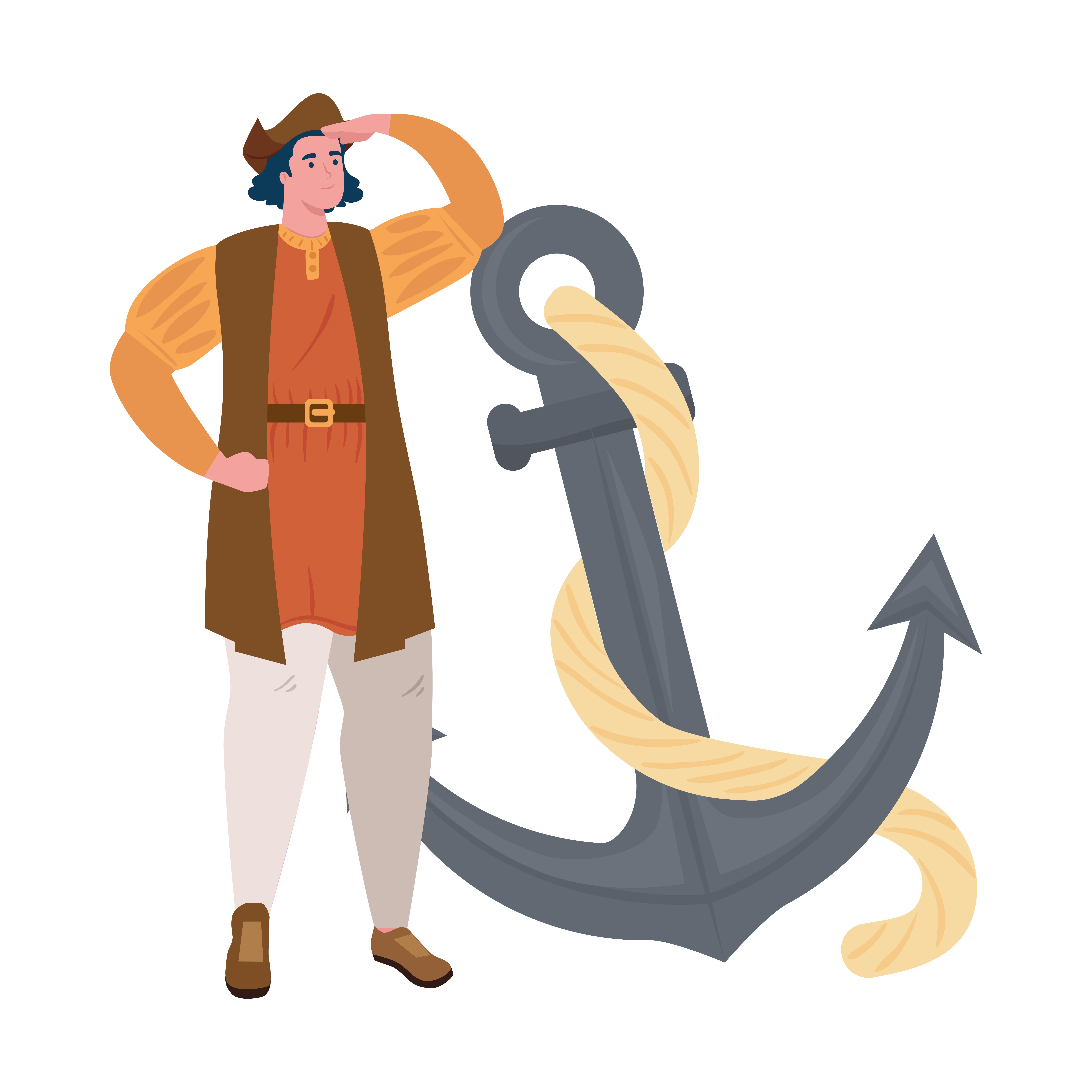 Christopher Columbus Cartoon With Anchor Vector Design Download Free Vectors Clipart Graphics Vector Art