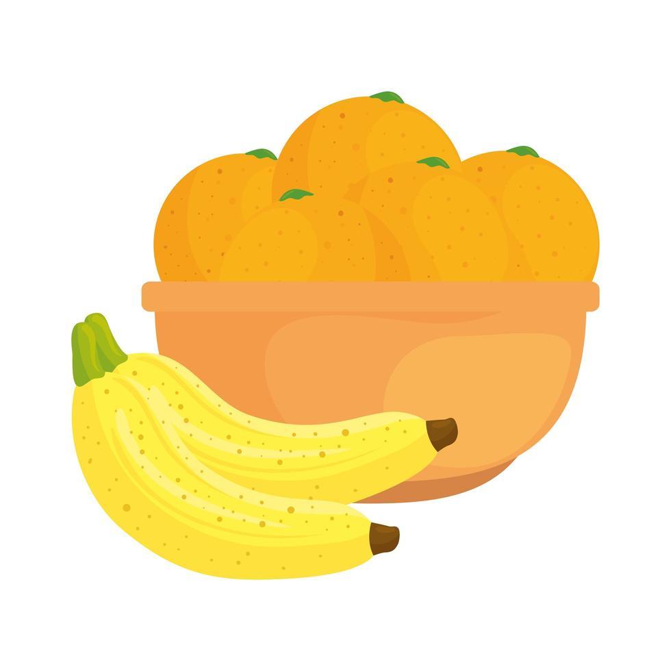 Frutas frescas, plátanos y naranjas en un tazón, en fondo blanco. vector