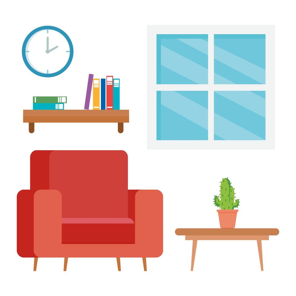 interior of the living room home, with couch, table and decoration vector