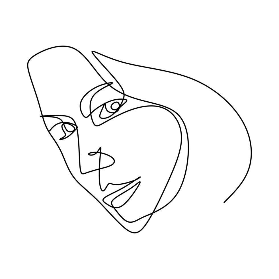 Woman face continuous line drawing. Beauty fashion female young figure. vector