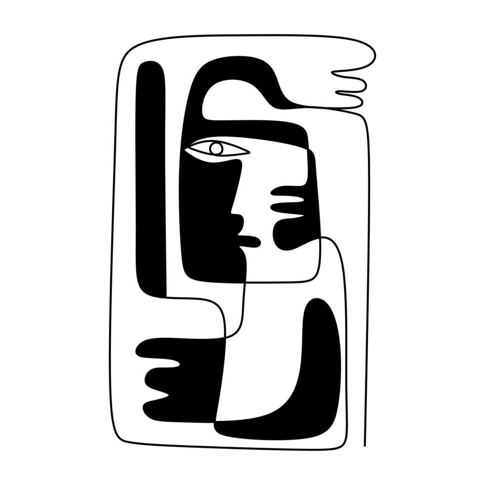 dibujo de una línea de carácter humano étnico con la mano. arte minimalista moderno, contorno estético. vector