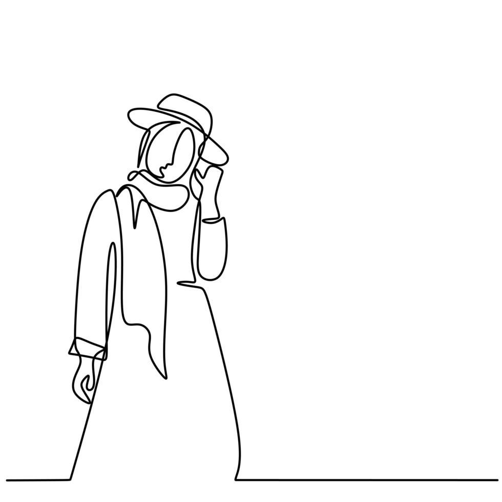 un dibujo de línea continua de una joven muslimah bonita feliz con un pañuelo en la cabeza con un sombrero en la cabeza. vector