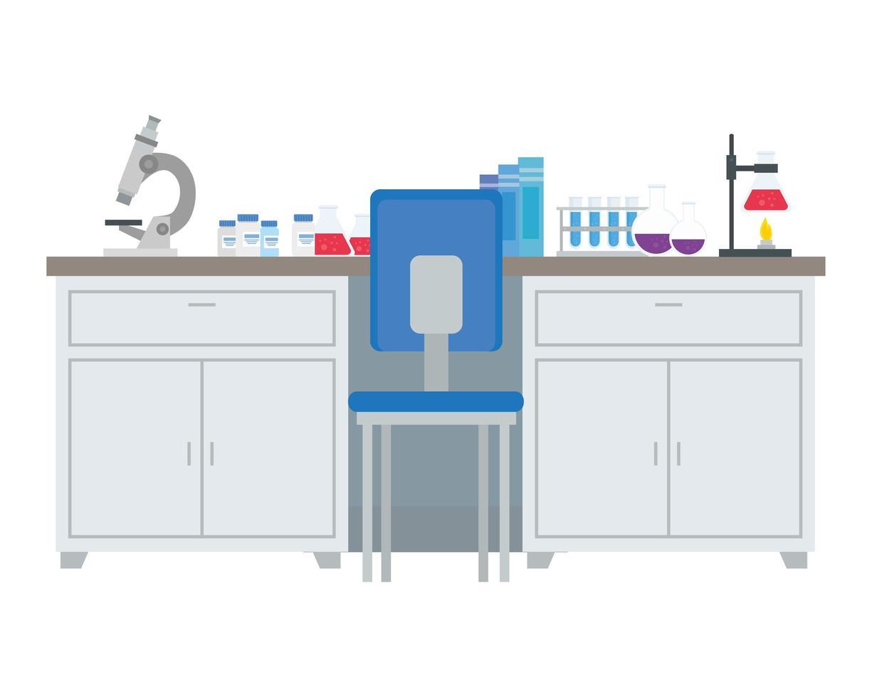 laboratory desk with tools vector design