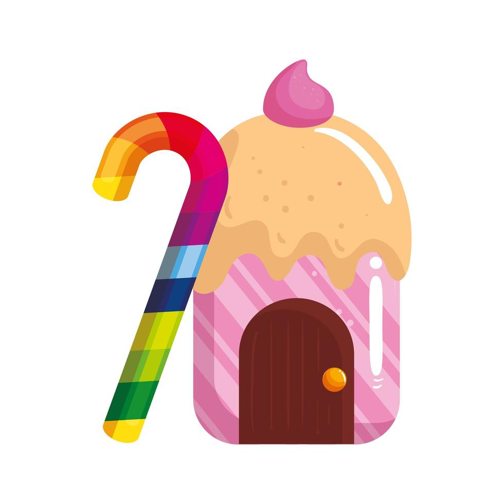 cupcake house delicious with candy in cane vector
