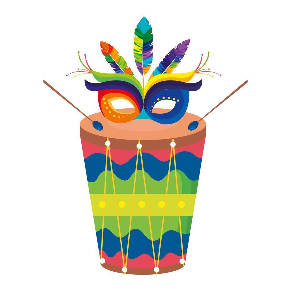 Tambor con máscara carnaval icono aislado vector
