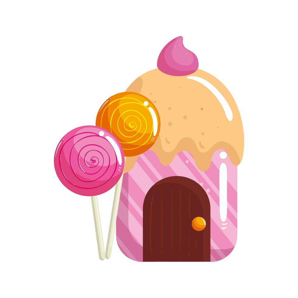 cupcake house delicious with lollipops vector