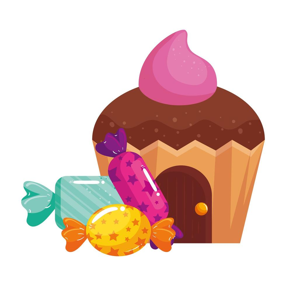 cupcake house delicious with candies vector