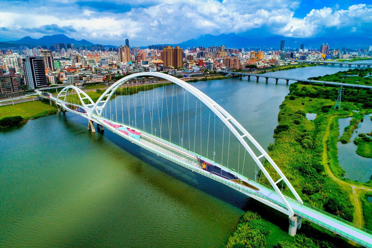 New Taipei City, Taiwan, July 11, 2018 - Aerial view of a bridge photo