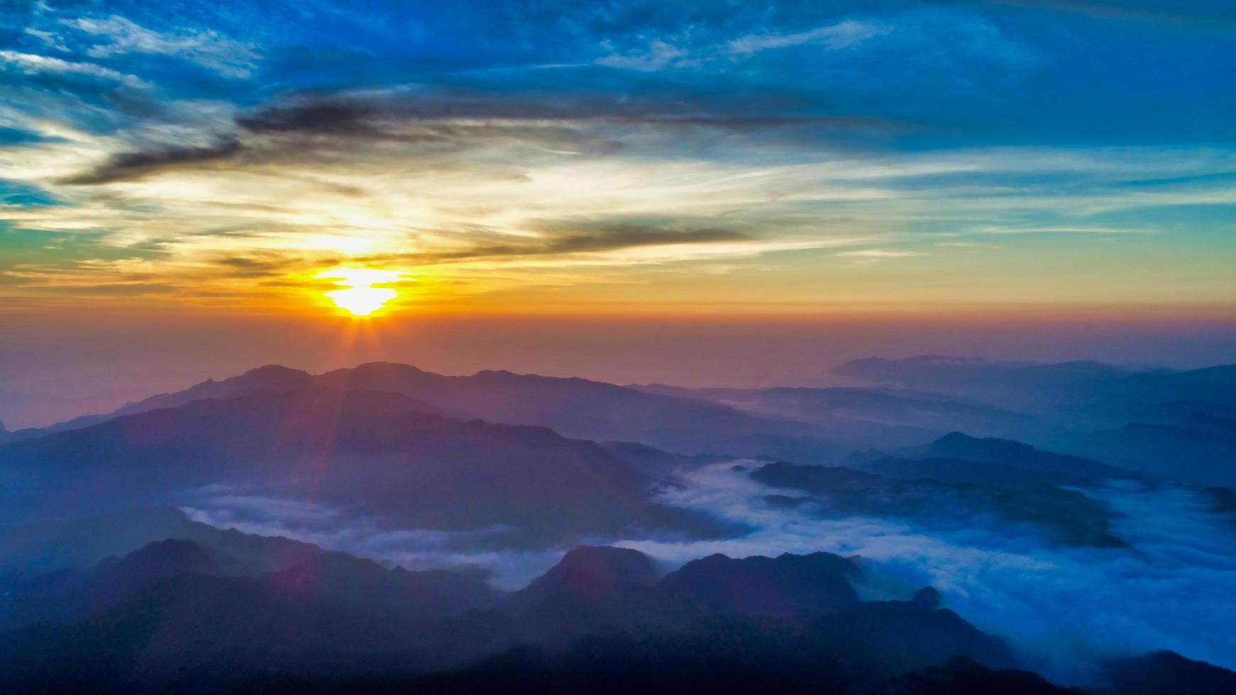 Aerial view of a sunrise over Wufenshan photo