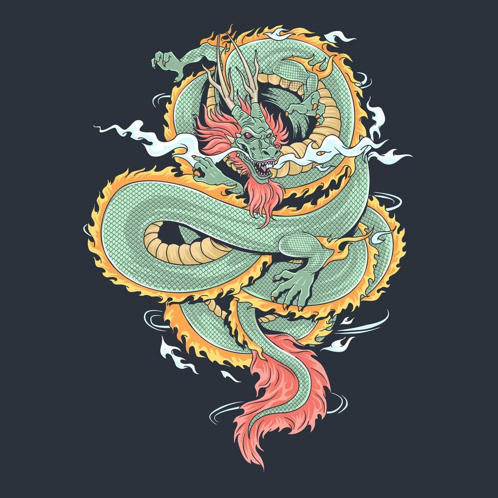 a dragon that looks fierce and cool, vector