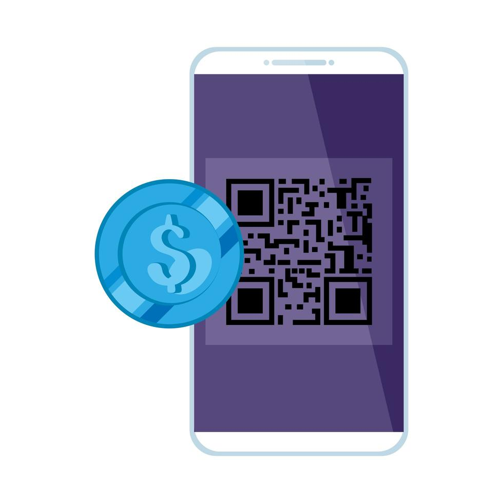 smartphone with scan code qr and coin vector