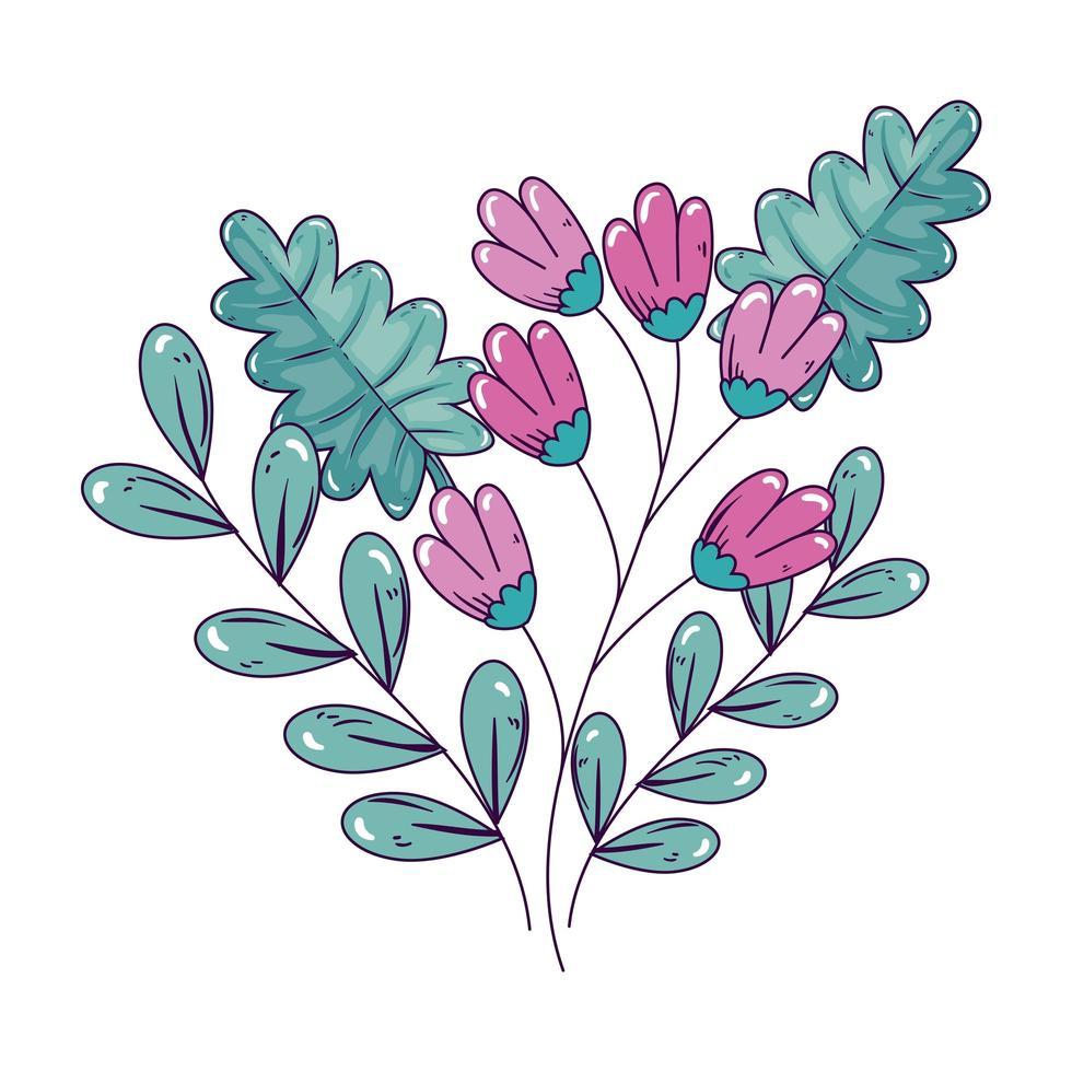 rama con flores y hojas icono aislado vector