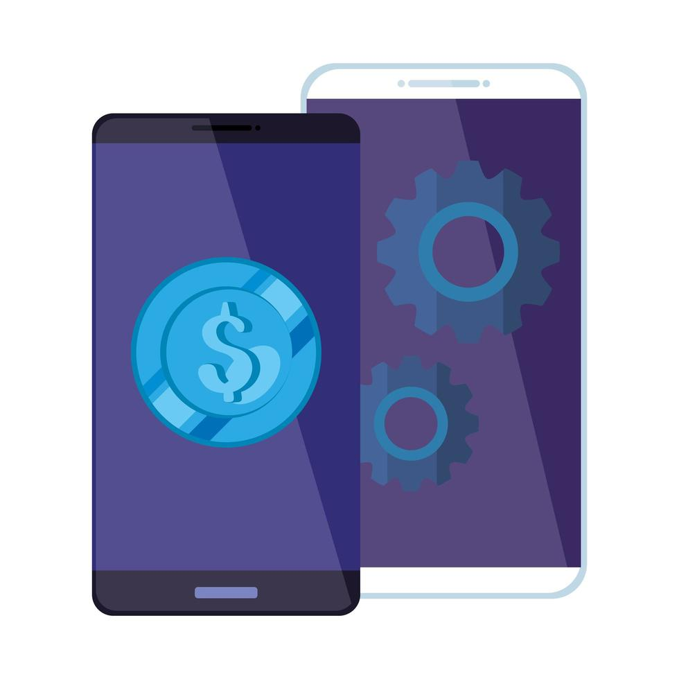 smartphones with coin and gears isolated icon vector