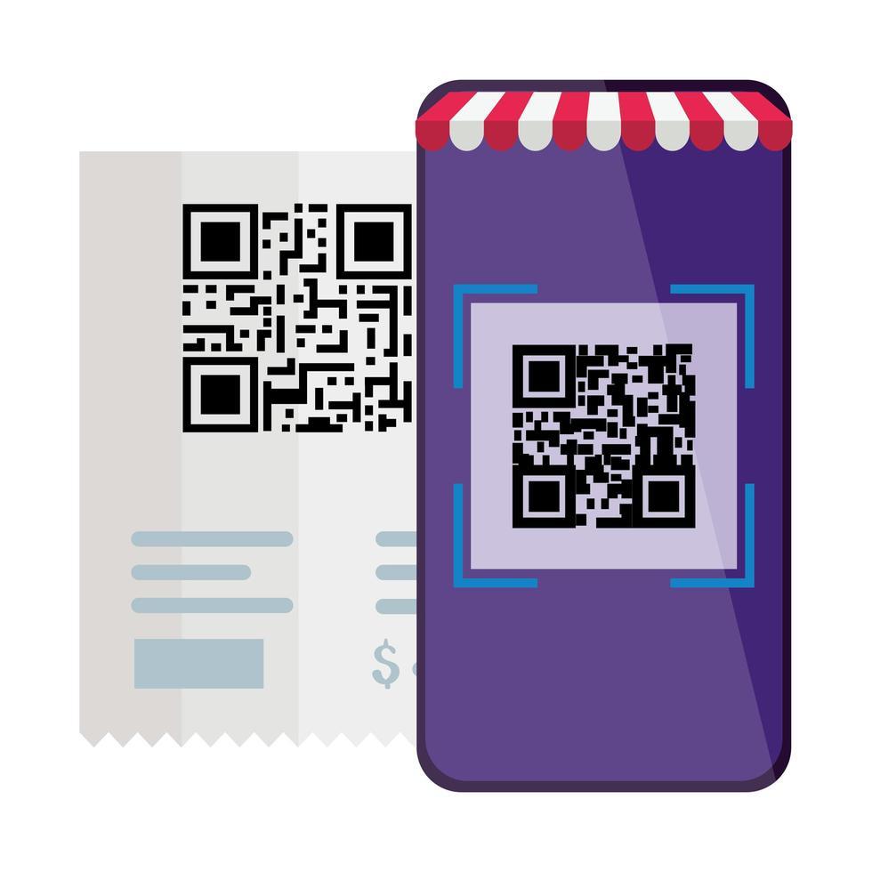 qr code paper and smartphone vector design