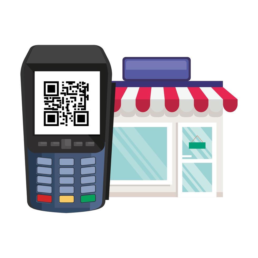 código qr dentro del datáfono y diseño vectorial de la tienda vector