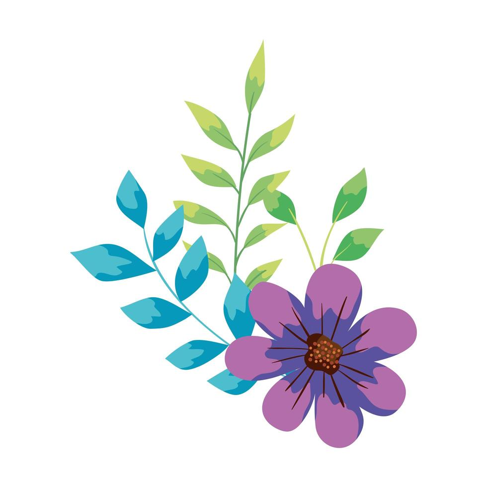 cute flower with branches and leafs vector