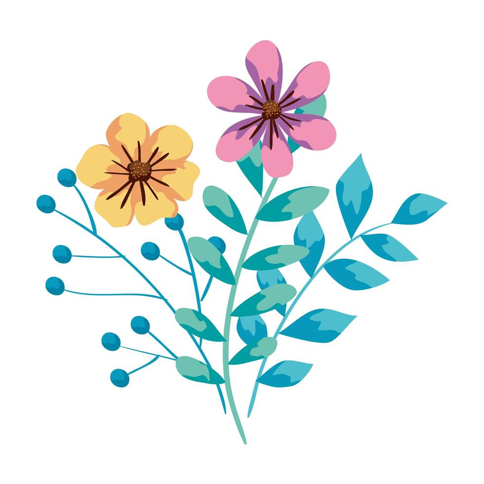 cute flowers with branches and leafs vector
