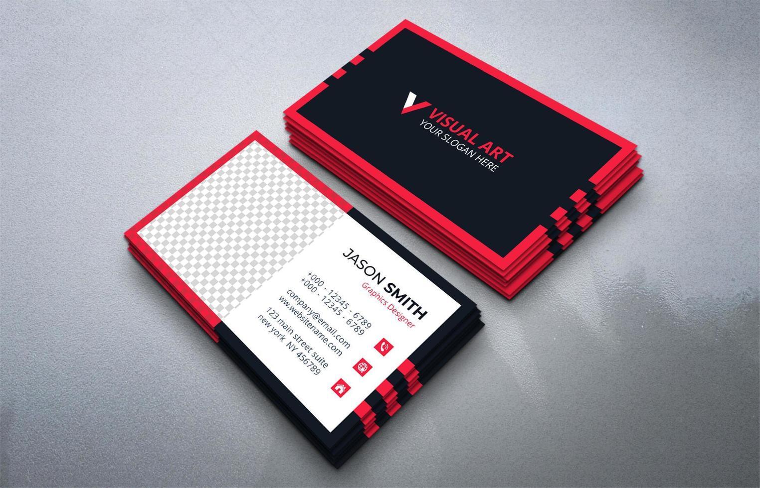 tarjeta de visita negra y roja vector