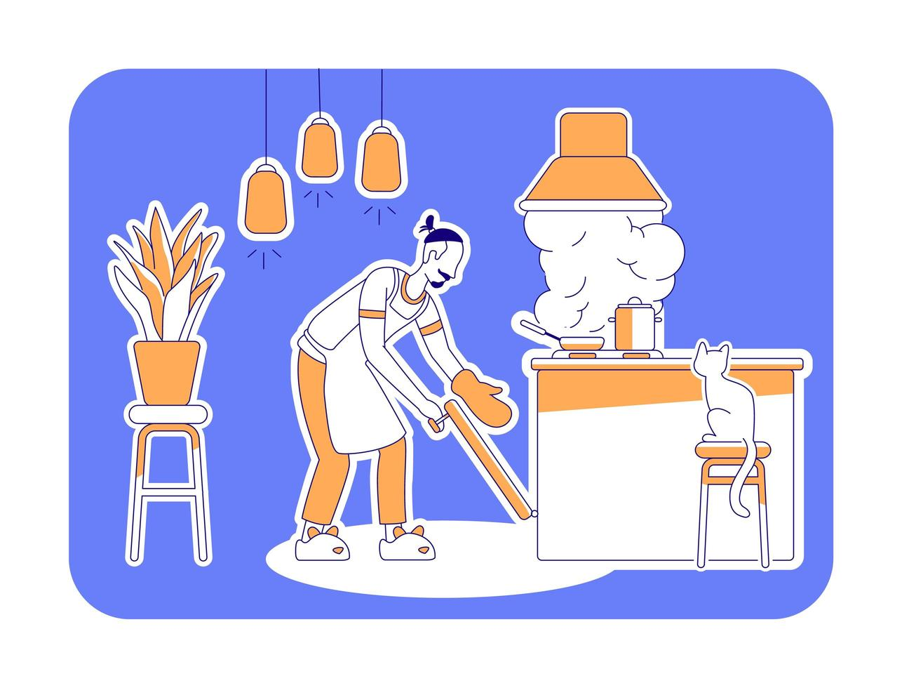 Man cook at home flat silhouette vector illustration