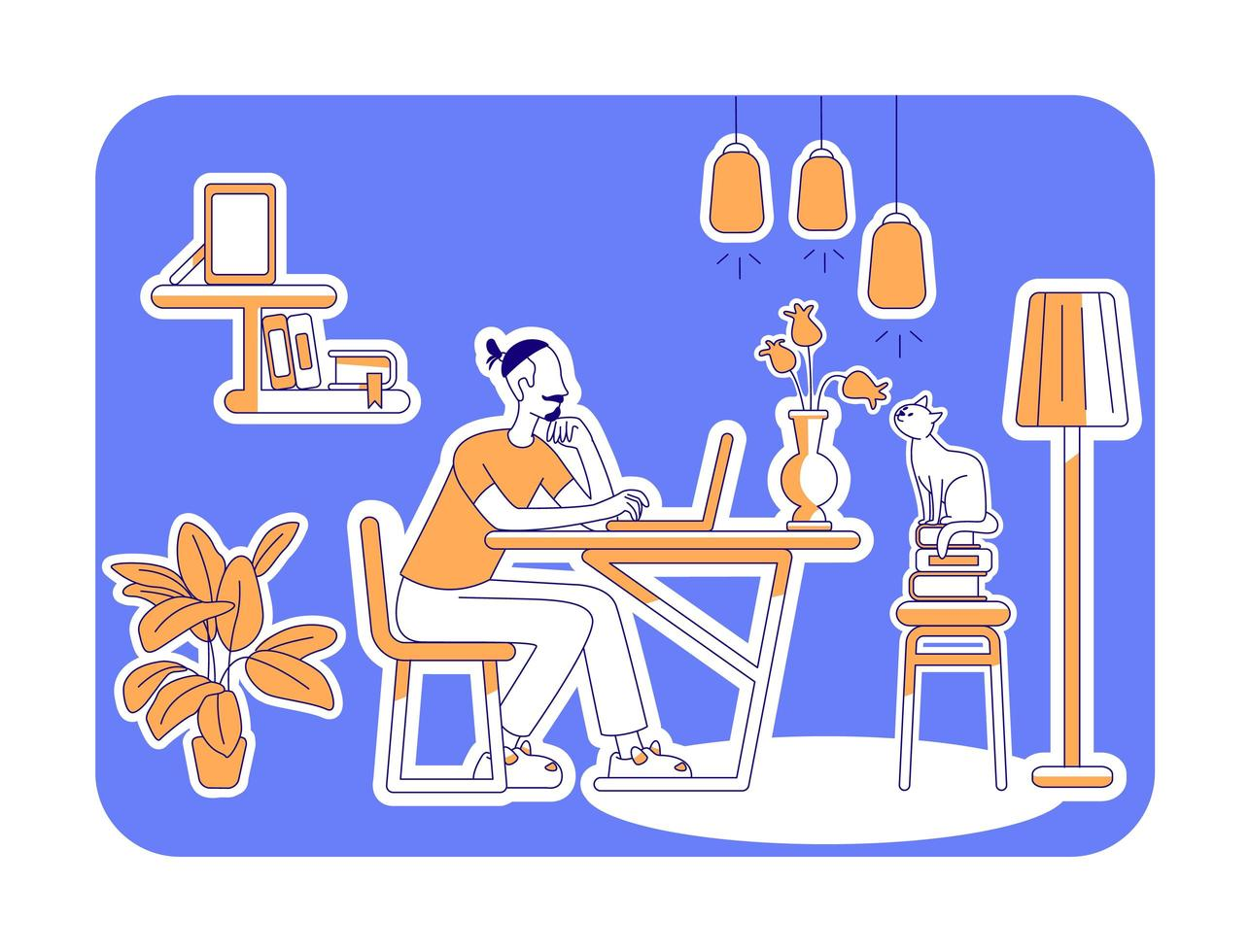 Free time at home flat silhouette vector illustration