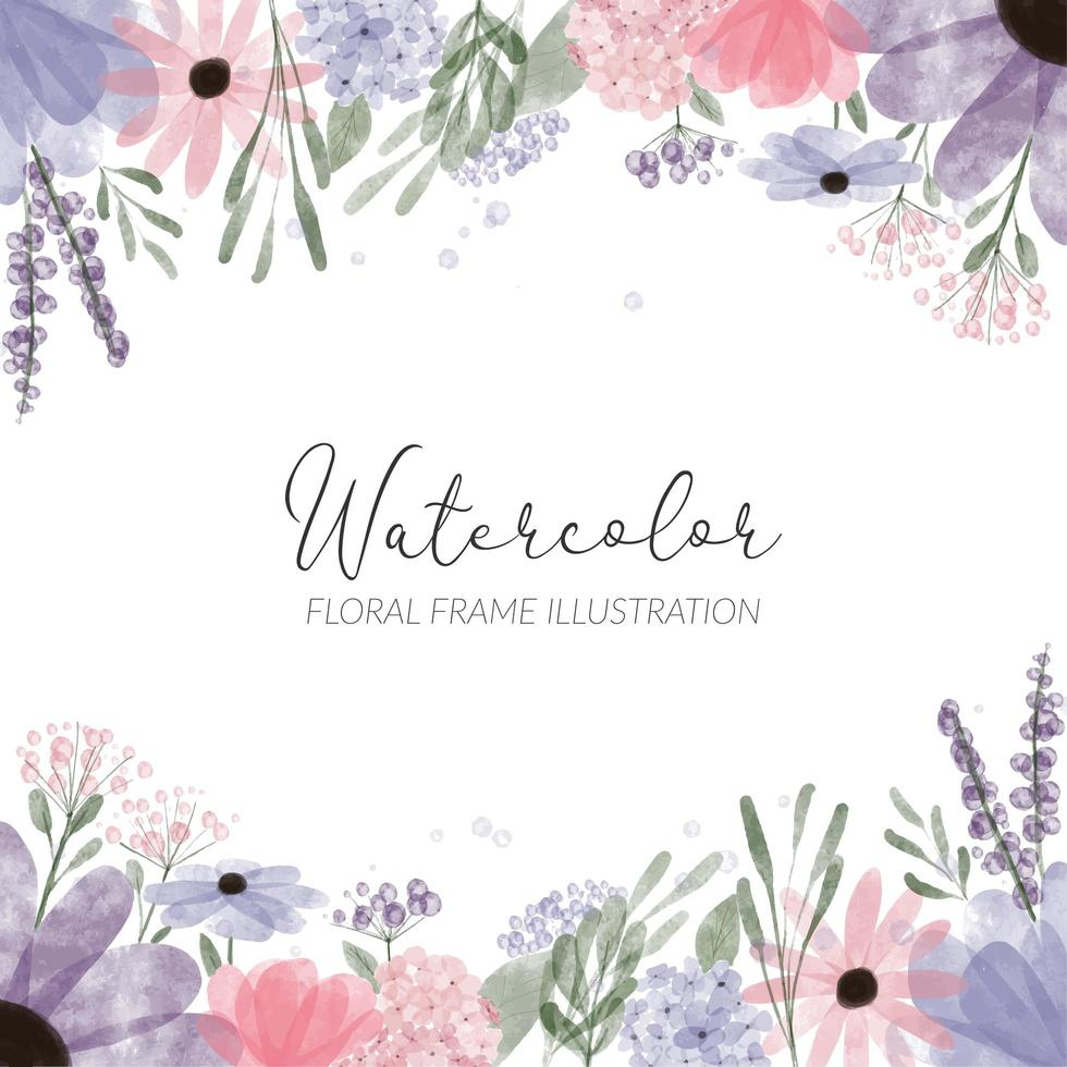 watercolor floral frame illustration with hydrangea petal flower vector
