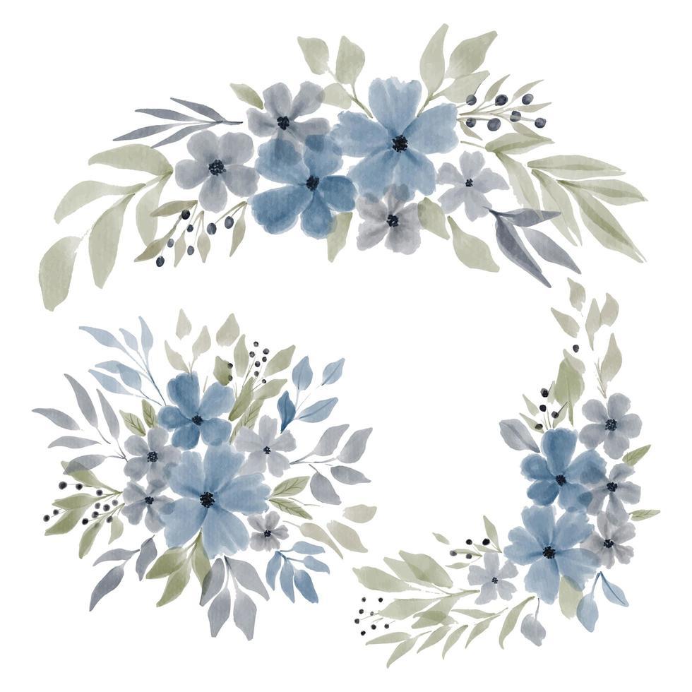 watercolor blue petal flower arrangement vector