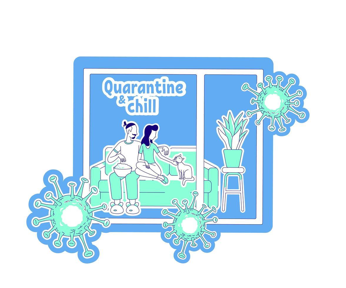 Quarantine and chill thin line concept vector illustration