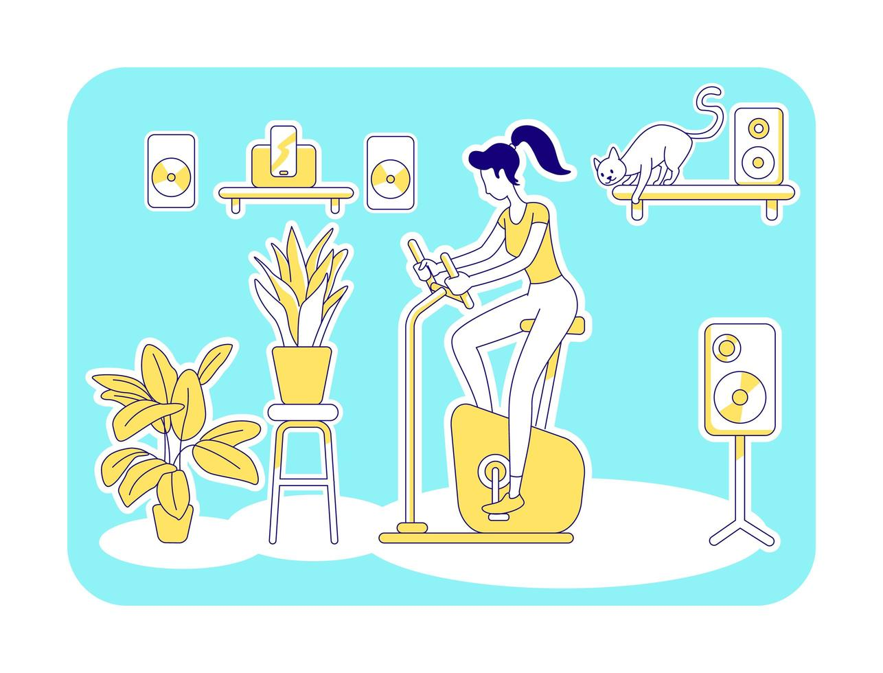 Home gym flat silhouette vector illustration