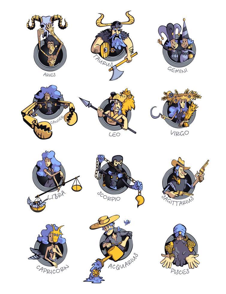 doce signos del zodíaco conjunto de ilustraciones vectoriales de dibujos animados planos vector
