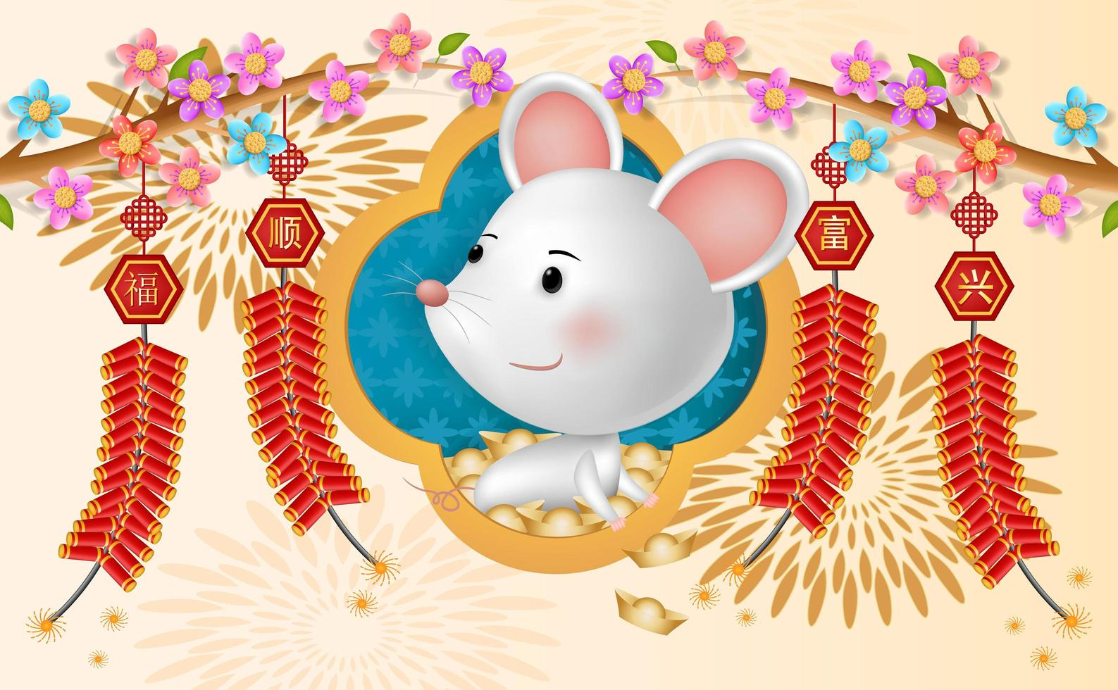 Happy Chinese new year for the rat with firecrackers vector