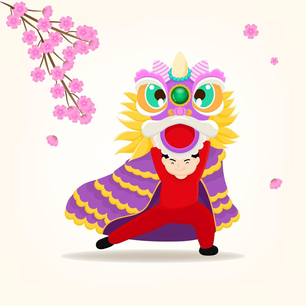 Lion dancing and greeting for Happy Chinese new year. vector