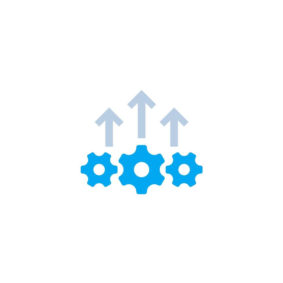 Operational excellence, production growth icon on white vector
