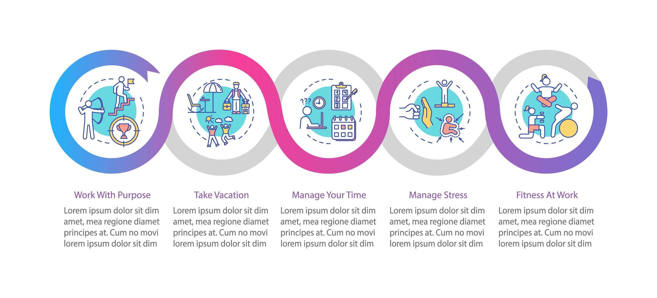Plantilla de infografía de vector de prevención de desgaste profesional. Elementos de diseño de presentación de gestión del tiempo.