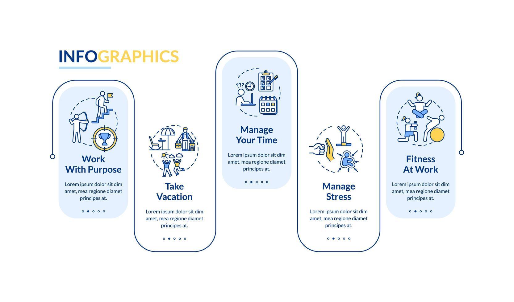 Plantilla de infografía de vector de prevención de desgaste profesional. Elementos de diseño de presentación de gestión del estrés.
