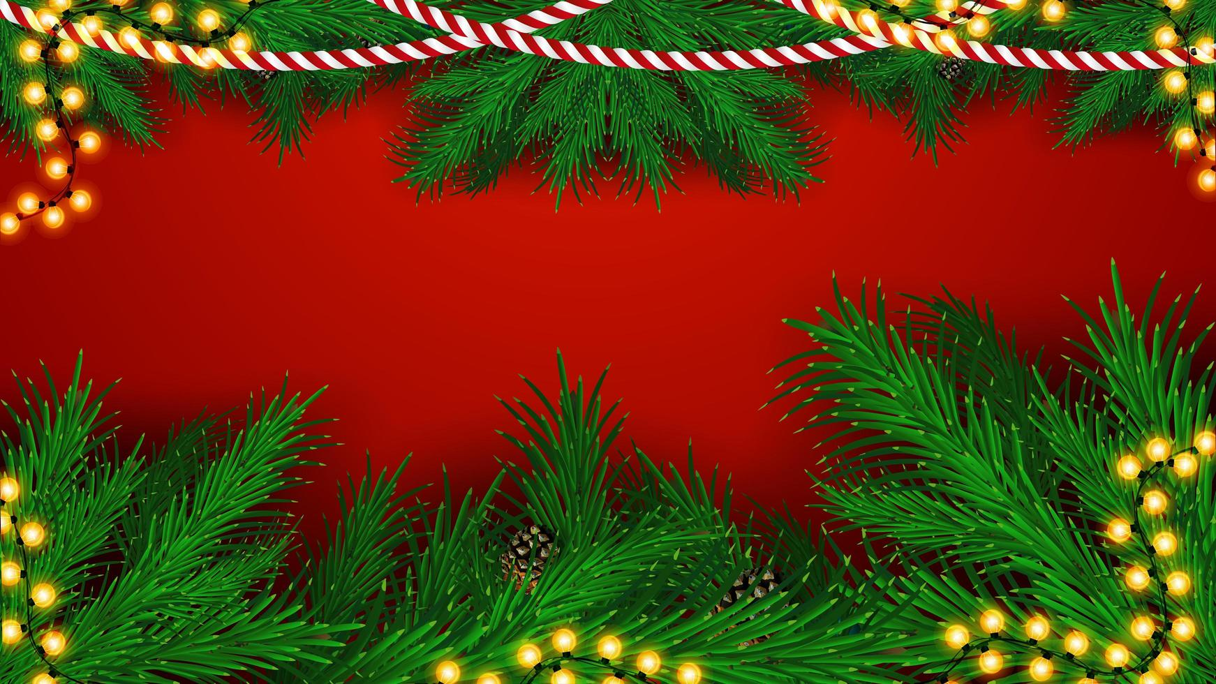 Christmas red background with frame of Christmas tree branches and garlands, blank for your art vector