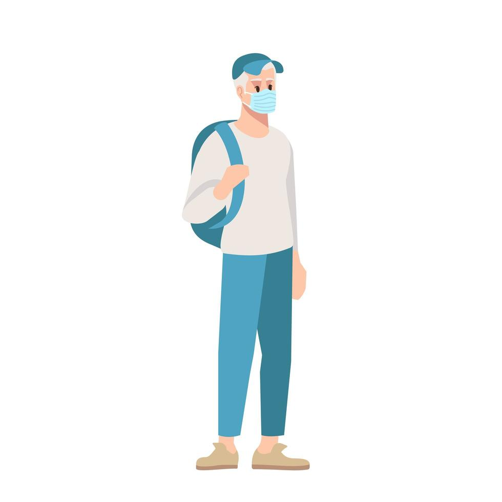 College student in surgical mask semi flat RGB color vector illustration.