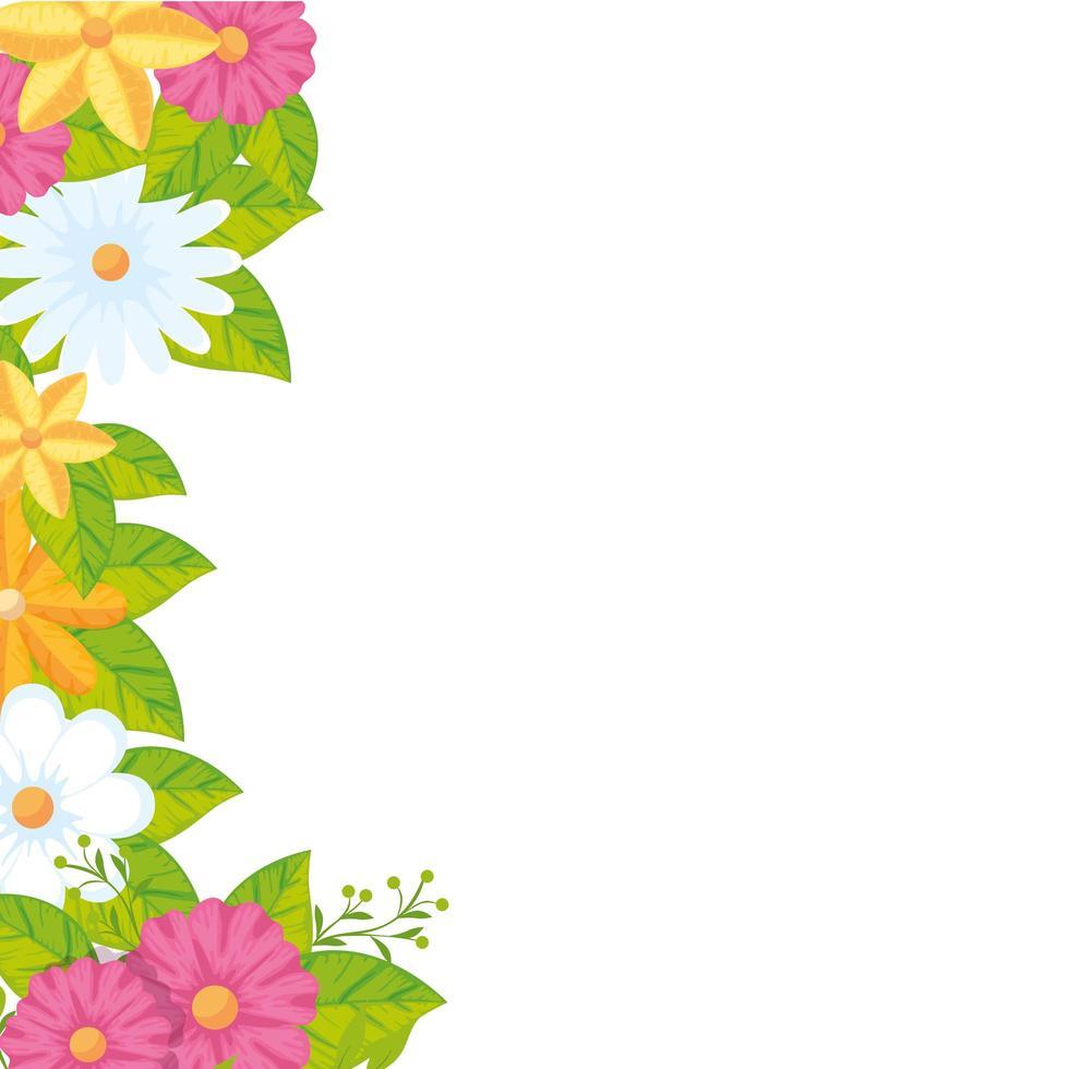 decoración de lindas flores con hojas vector