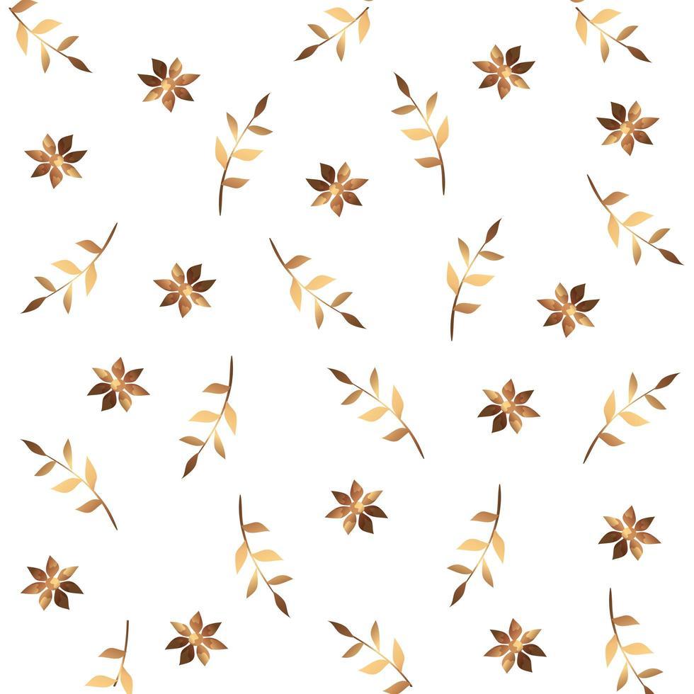 Fondo de flores y ramas con hojas doradas. vector
