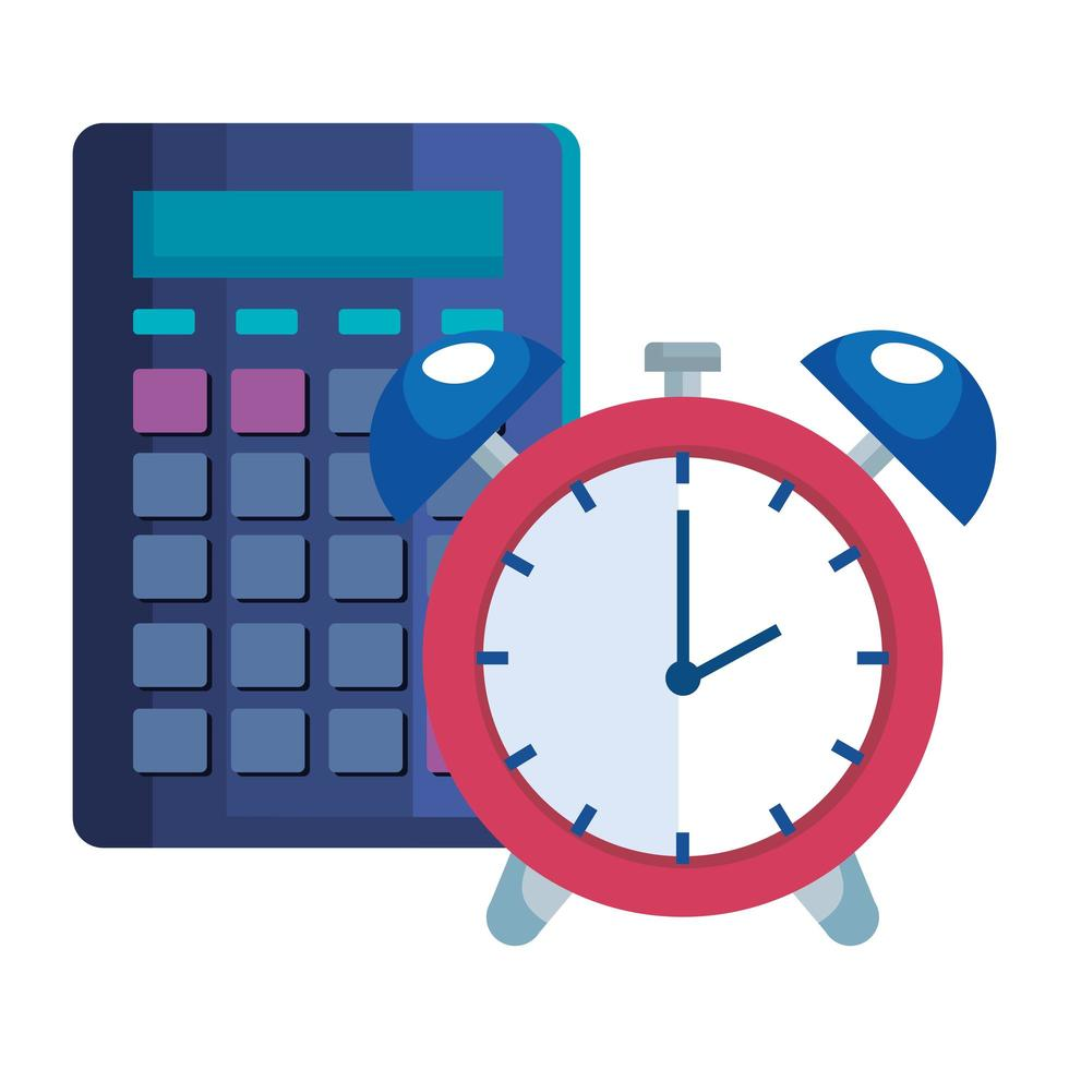 hora del despertador con calculadora vector