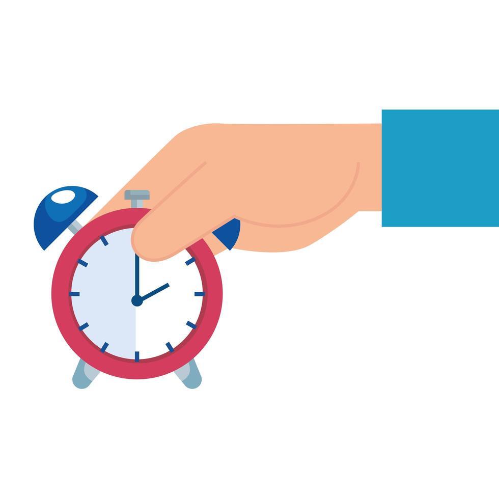 Mano con reloj despertador icono aislado de tiempo vector